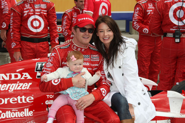 Scott Dixon with his wife, Emma, and their daughter Poppy